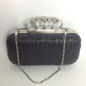 Handbags - Black Silver Jeweled Knuckle Evening Bag Chain